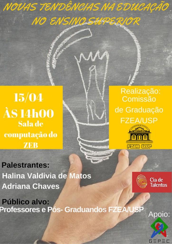 Cartaz Palestra Novas Tendências na Educação no Ensino Superior
