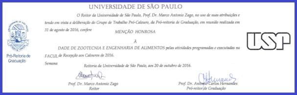 Banner Menção Honrosa à FZEA pela Recepção aos calouros de 2016