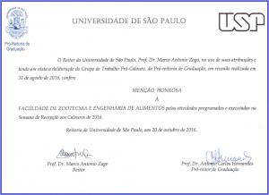 Certificado Menção Honrosa FZEA - Recepção aos calouros de 2016