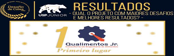 """Banner Premiação Qualimentos JR """"1ª Desafio de Cases organizado pela USP Jr"""""""