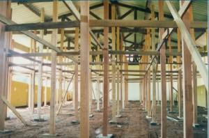 1997 – Construção das antigas instalações da Biblioteca,  onde hoje (2017) funciona a Secretaria do ZAB e  Seção Técnica de Informática: escoramento da laje. Foto: Acervo FZEA.