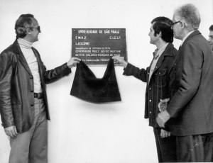 Inauguração dos Maquinários do Laticínio, doados pela Fundação Ford, década de 70. Foto: Acervo Digital FZEA.