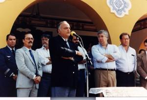 Magnífico Reitor da USP de 1990 a 1993, Prof. Dr. Roberto Leal Lobo e Silva Filho, durante cerimônia de inauguração da FZEA/USP, em 06 de agosto de 1992. Foto: Acervo: FZEA.