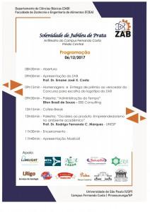 Programação Jubileu de Prata do ZAB (06/12/2017)