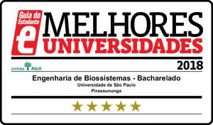 Selo de qualidade do Guia do Estudante – Engenharia de Biossistemas FZEA 2018