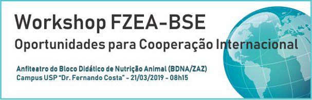 Banner Workshop FZEA-BSE Cooperação Internacional