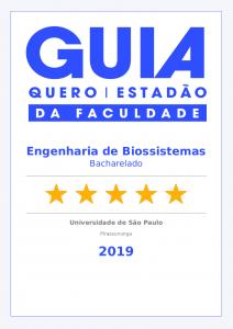 Selo Guia da Faculdade – Engenharia de Biossistemas FZEA 2019